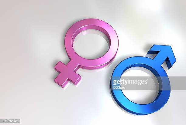 3D illustration of man and woman icons
