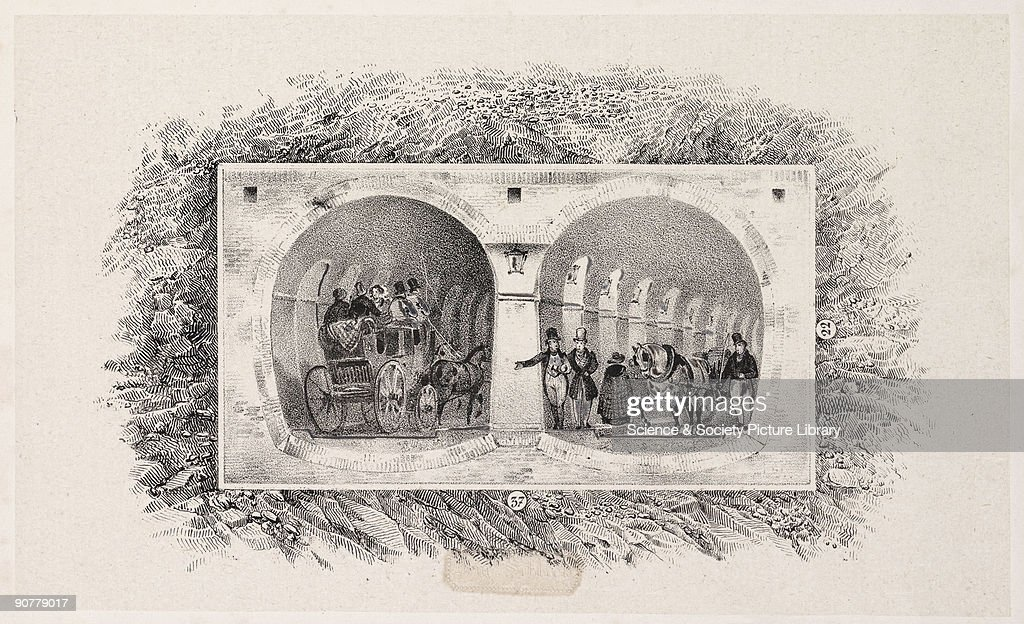 Illustration of Marc Isambard Brunel�s Thames Tunnel from Rotherhithe to Wapping This was built using the tunnelling shield he patented in 1818 The...