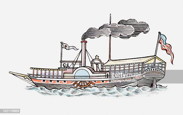 Illustration of Mark Twain's Mississippi paddle boat