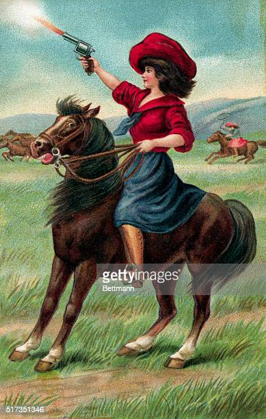 Illustration of markswoman Annie Oakley on horseback firing a gun Undated color lithograph