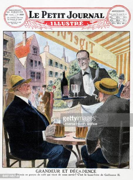 Illustration of men drinking German beer at a Paris street cafe from a 1903 issue of 'Le Petit Journal