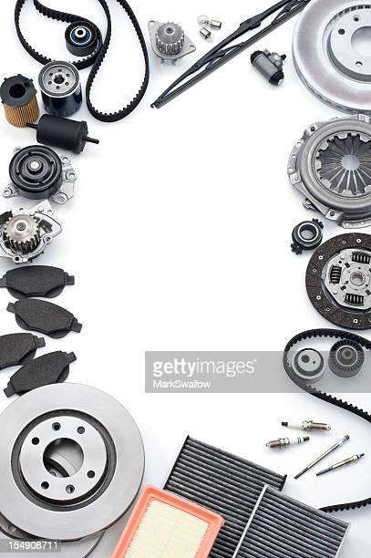 Illustration of metal automotive parts on white background