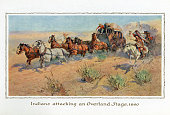 Illustration of Native Americans attacking an Overland Stage stagecoach in 1860 1914 Screen print