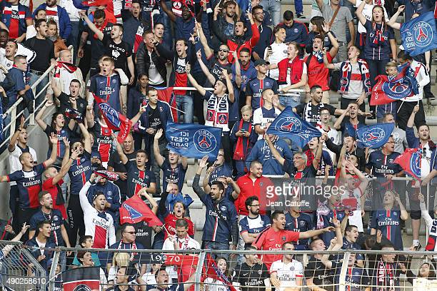 Illustration of Paris SaintGermain supporters during the French Ligue 1 match between FC Nantes and Paris SaintGermain at Stade de la Beaujoire on...