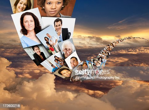 Illustration of photos of faces in sky
