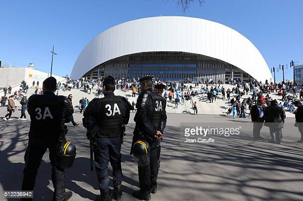 Illustration of police forces in front of New Stade Velodrome prior to the French Ligue 1 match between Olympique de Marseille and AS SaintEtienne at...