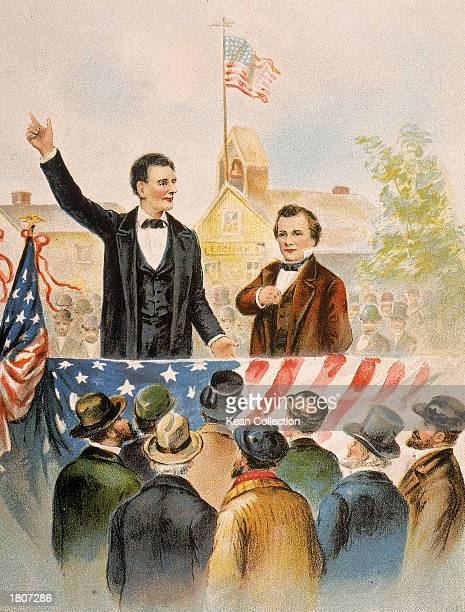 Illustration of Republican presidential candidate Abraham Lincoln debating his opponent Steven Douglas in front of a crowd circa 1858