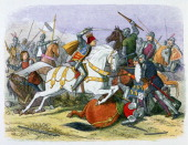 Illustration of Richard III at the Battle of Bosworth in August 1485 from a Chronicle of England by James Doyle printed by Edmund Evans 19th century