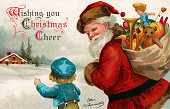 Illustration of Santa Claus and a small boy delivering toys in a snowy village 1901 Chromolithograph
