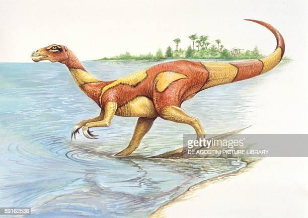 Illustration of Segnosaurus walking into water