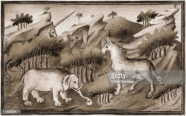 Illustration of shows various mythical beasts thought to have been seen by explorer Marco Polo during his travels in the Orient 13th century Among...