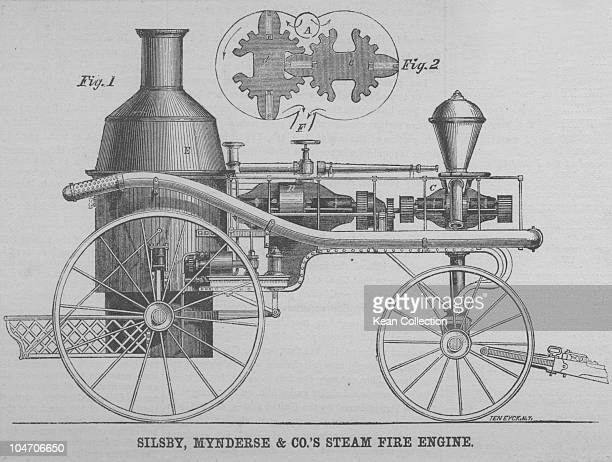 Illustration of Silsby Mynderse and Co's steam fire engine as seen in Scientific American on February 25 1860