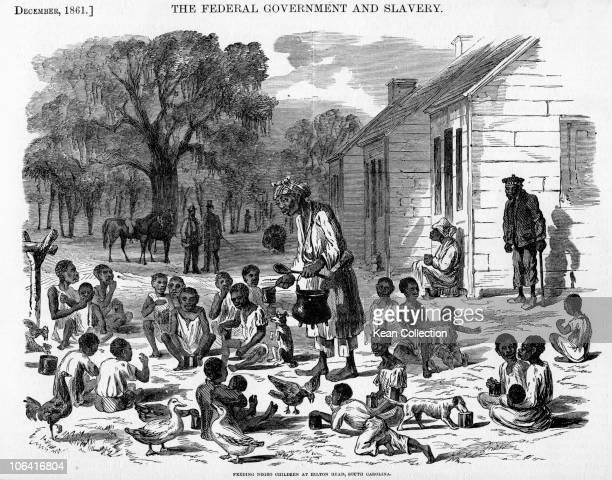 Illustration of slave children being fed at Hilton Head South Carolina in December 1861