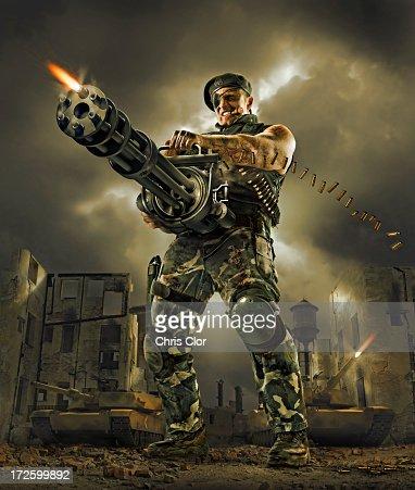 Illustration of soldier firing machine gun outdoors
