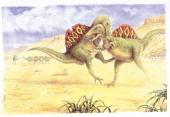 Illustration of Spinosaurus fighting