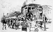 Illustration of strikers driving out an engineer on the Illinois Central railway line during the Pullman strike in Chicago 1894
