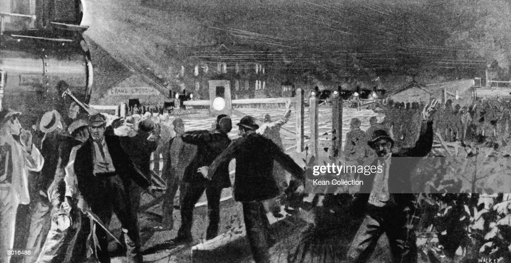 Illustration of strikers performing a blockade at the Grand Crossing near the outskirts of Chicago during the Pullman strike July 26 1894