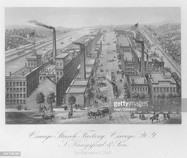 Illustration of T Kingsford and Son's starch factory in Oswego New York circa 1850