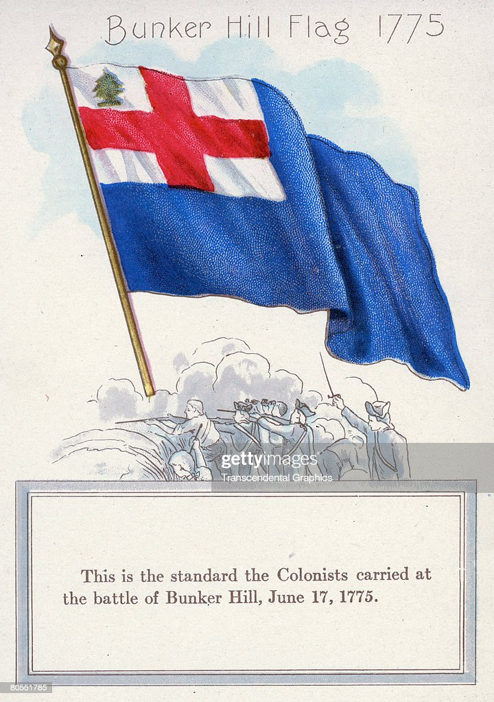 Illustration of the Bunker Hill flag of 1775, from a Chase & Sanborn Tea and Coffee Importers promotional pamphlet, 1912. Beneath the full color illustration is a line drawing of soldiers as they aim their rifles. The text below reads 'This is the standard the Colonists carried at the battle of Bunker Hill, June 17, 1775.'