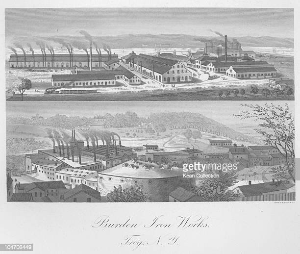 Illustration of the Burden iron works in Troy New York circa 1860