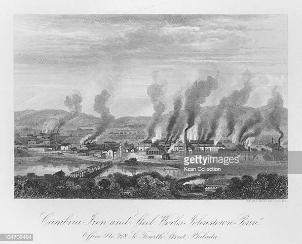 Illustration of the Cambria iron and steel works in Johnston Pennsylvania circa 1860