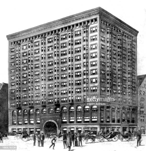 Illustration of the exterior of the old Chicago Stock Exchange Chicago Illinois circa 1900