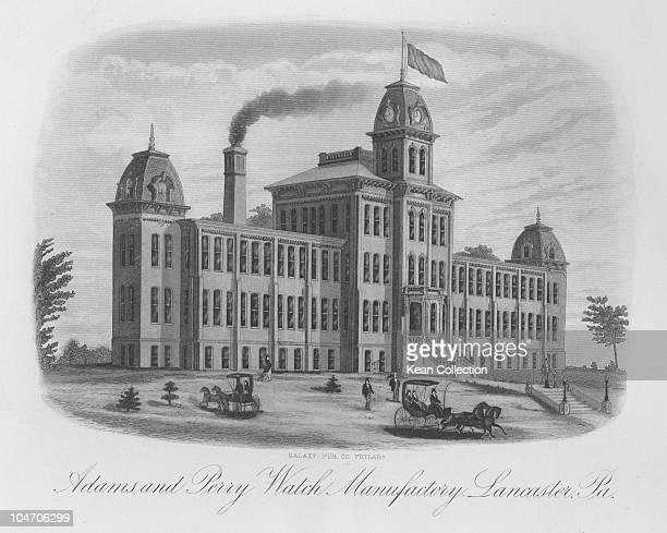 Illustration of the factory of the Adams and Perry Watch Manufacturing Company in Lancaster Pennsylvania circa 1880