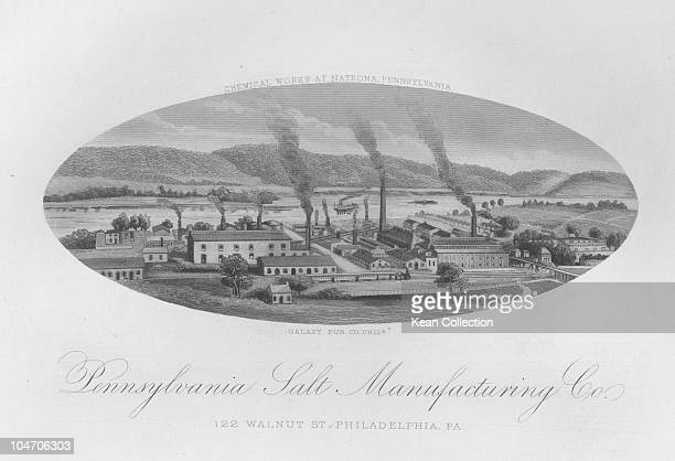Illustration of the factory of the Pennsylvania Salt Manufacturing Company in Philadelphia Pennsylvania circa 1886