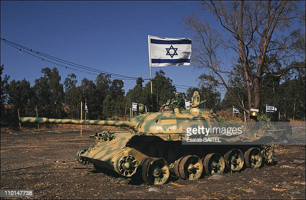 Illustration of The Golan in Israel in August 1991 Syrian tank captured in the 6day war displayed at an army base