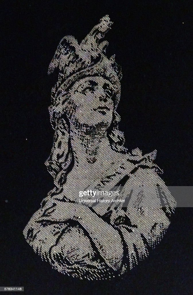 Illustration of the Greek Goddess Athena Athena is Goddess of Wisdom and War Dated 19th Century