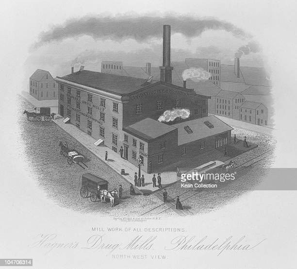 Illustration of the Hagner's Drug Mill in Philadelphia Pennsylvania circa 1850