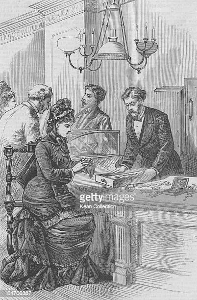 Illustration of the interior of Theo B Starr's jewellery store in New York City in 1879