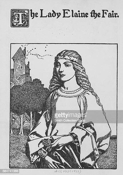 Illustration of The Lady Elaine the Fair from the story of King Arthur 1900 From the New York Public Library