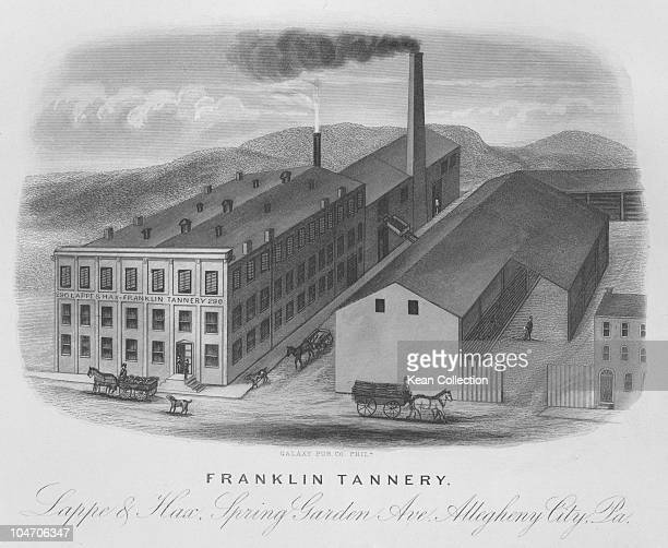 Illustration of the Lappe and Hax Franklin tannery in Allegheny City Pennsylvania circa 1870