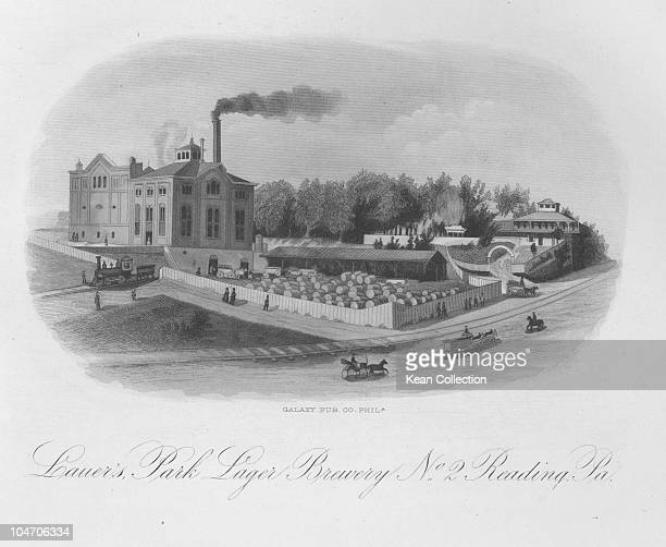 Illustration of the Lauer's Park brewery in Reading Pennsylvania circa 1870