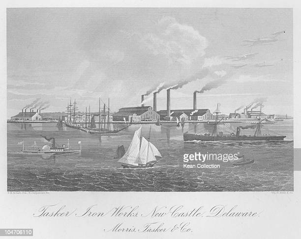 Illustration of the Morris Tasker and Co iron works in New Castle Delaware circa 1860