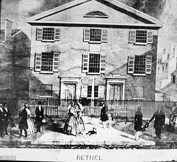 Illustration of the Mother Bethel African Methodist Episcopal Church the first American church for Black congregations founded by Richard Allen in...
