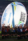 Illustration of the opening ceremony ahead of the Rugby World Cup 2015 match between England v Fiji at Twickenham Stadium on September 18 2015 in...