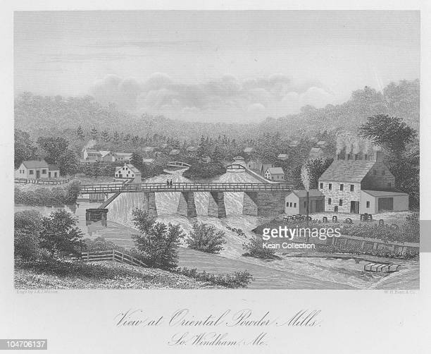 Illustration of the Oriental Powder mill at Gambo Falls in Maine circa 1880