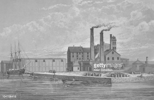 Illustration of the Revere sugar refinery in Boston Massachusetts circa 1870