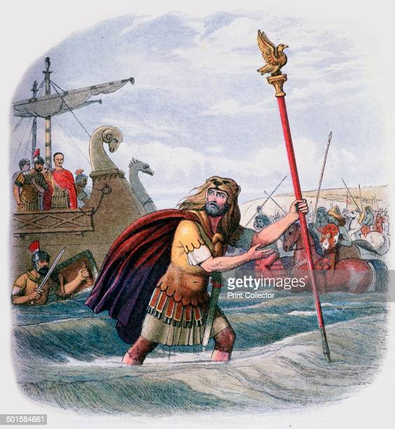 Illustration of the Romans landing in Britain depicting the centurion who leapt ashore with the standard It was printed in 'A Chronicle of England'...