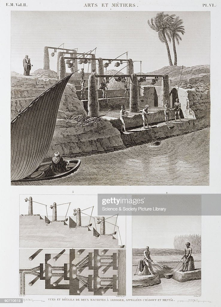 Illustration of the shadouf and the mental two methods of raising water to irrigate crops which have been in use in Egypt for thousands of years From...
