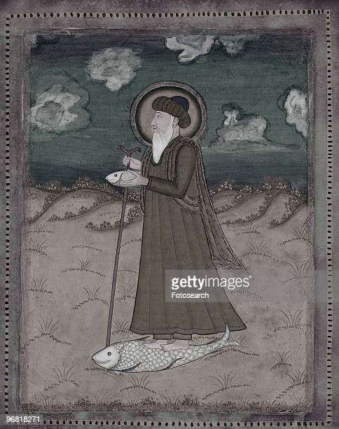Illustration of the Sufi Saint Khidr Wearing A Green Robe and Standing on a Fish that carries him over Water circa 1700s
