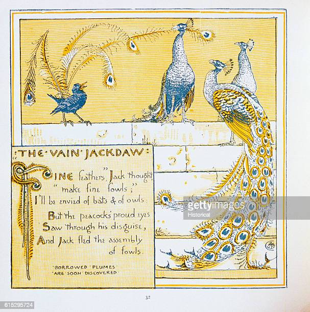 Illustration of 'The Vain Jackdaw' From Walter Crane's Baby's Own Aesop