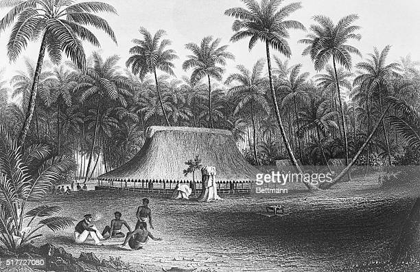 Illustration of the Wilkes Expedition depicting a peaceful encounter with natives at a coconut grove on Boroditch Island December 1840