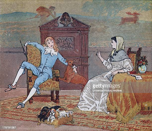 Illustration of the young squire and his mother from the Nursery Rhyme ''The Milkmaid''