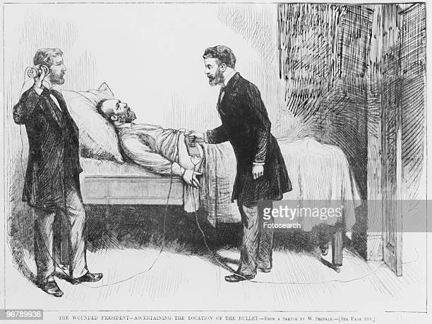 Illustration of two doctors using a metal detector on James A Garfield with caption 'The Wounded Ascertaining The Location Of The Bullet From A...