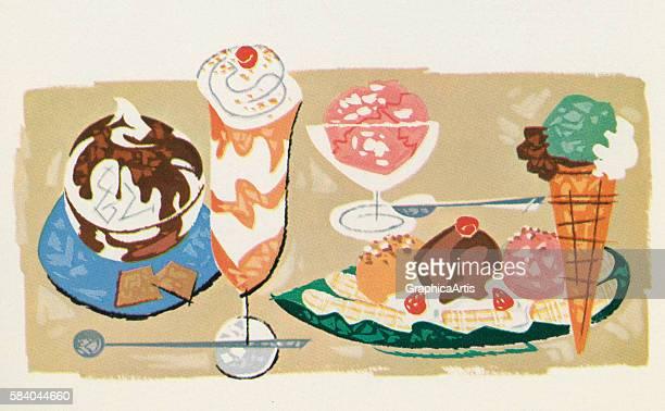 Illustration of varieties of ice cream served for dessert 1957 Screen print
