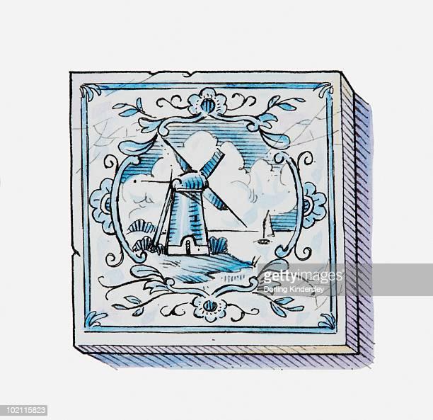 Illustration of windmill on Dutch Delft tile