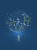3D illustration of world market with figures arranged.
